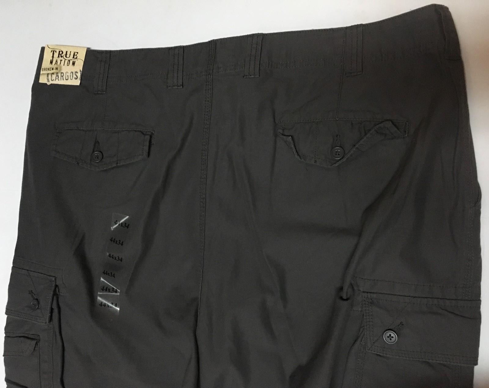 True Nation Men's Cargo Dark Grey Pants Sz 44 x 34 Flat Front NWT