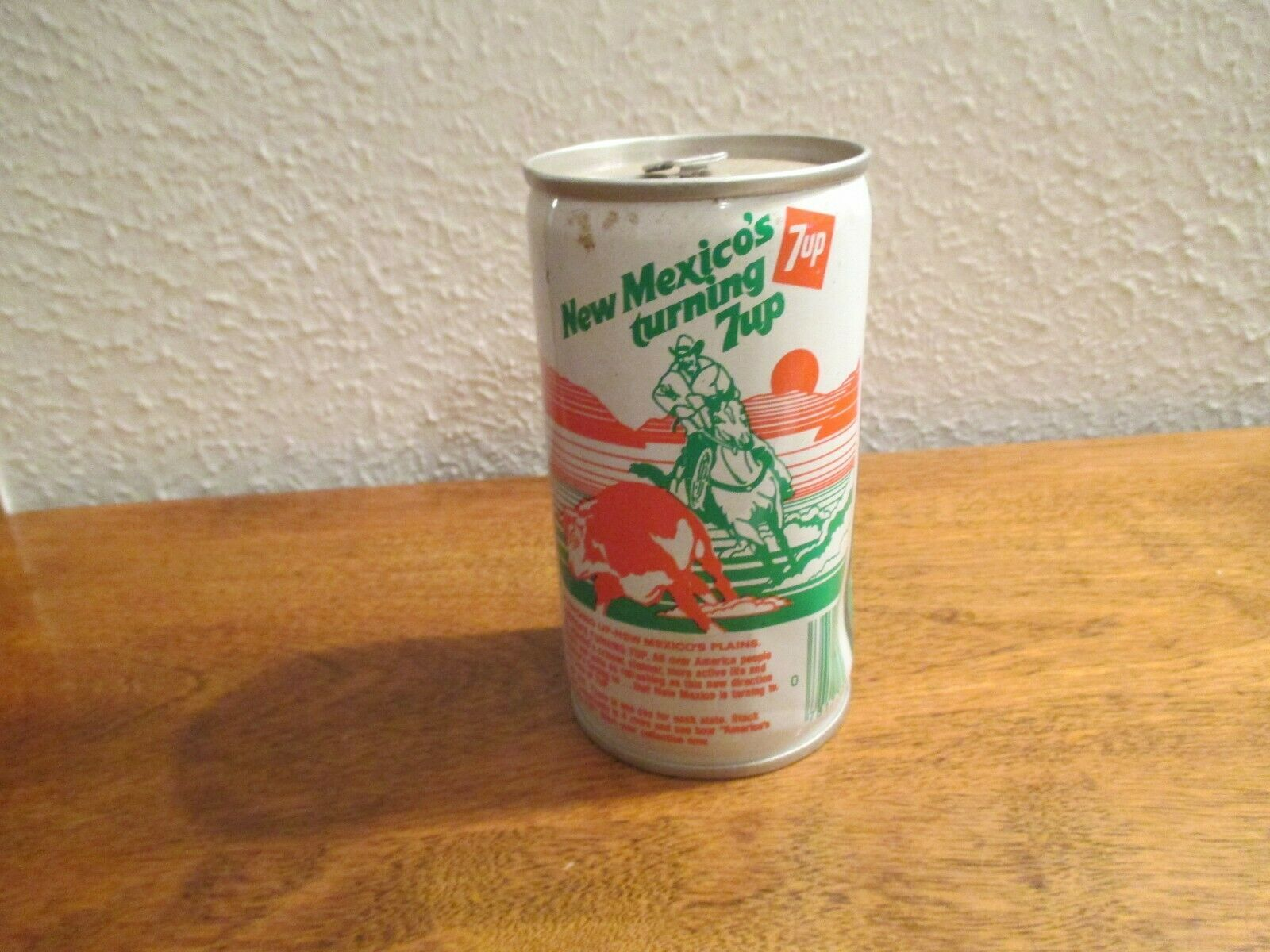 Primary image for New Mexico NM Turning 7up vintage pop soda metal can Plains rounding up