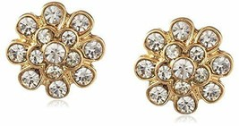 New Cohesive Jewels Gold Plated Floral Cubic Zirconia Crystal Stud Earrings NWT image 1