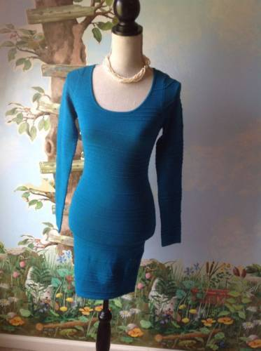 Planet Gold Women's Blue Long Sleeve Knit Dress SZ Small