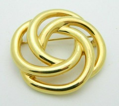 MONET Brooch Pin Infinity Knot Gold Tone Vintage - $13.86
