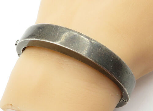 Primary image for 925 Sterling Silver - Vintage Dark Tone Smooth Round Bangle Bracelet - B6404