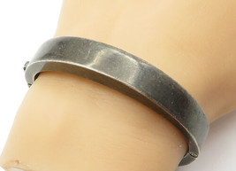 925 Sterling Silver - Vintage Dark Tone Smooth Round Bangle Bracelet - B... - $134.74