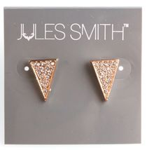 Jules Smith Gold Cubic Zirconia Crystal Pave Elongated Triangle Stud Earrings image 5