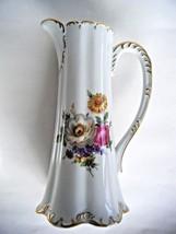 Vintage German Porcelain Tall Pitcher Vase Tankard Flower Pattern Bavaria - $59.35