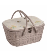 Hobby Gift Sewing Box Wicker Basket Appliqué: Linen Bee - $149.99