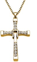 Fast And Furious Dominic Toretto's Vin Diesel Crystal Cross Pendent Necklace - £24.13 GBP