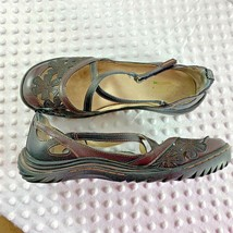 Jambu Jabu Sz 9 M Slip On Sandal Shoes Womens Floral Blossom Brown Two Tone - $46.74