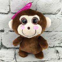 Girl Monkey Plush Brown Stuffed Animal Pink Bow Big Eyes Smiling Soft Toy - $7.91