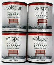 4 Valspar 32oz Project Perfect 60075 Cherry Gloss Interior Exterior Late... - $47.99