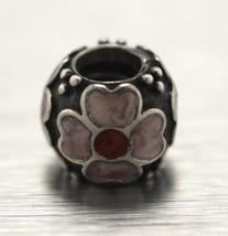 RETIRED Pandora 925 Sterling Silver Red & Pink Enamel Flower Bead Charm 790433ER - $21.95