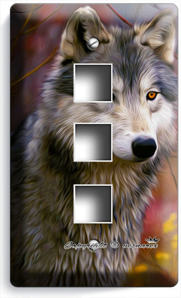 GRAY WOLF IN THE WOODS AUTUMN FOREST LIGHT SWITCH WALL PLATE OUTLET HOME DECOR