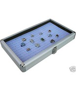 ALUMINUM 72 RING CASE BOX DISPLAY WITH GREY  INSERT NEW - $39.55
