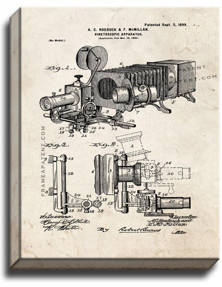 Primary image for Kinetoscopic Camera Patent Print Old Look on Canvas