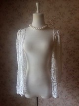 Rustic Lace Plus Size Lace COVER-UP Ivory Lace Coverup Boho wedding Women TOPS image 6