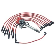 SBC 327 350 SMALL CAP DISTRIBUTOR COIL + 8mm SPARK PLUG WIRES OVER VALVE COVER