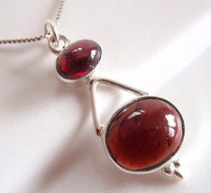 Garnet Double Gem Oval 925 Sterling Silver Necklace New Imported from India - $21.73