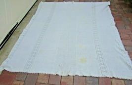 Vintage Ivory Crochet Coverlet Bed Ecru Off White Cotton 31720 Tableclot... - $118.79
