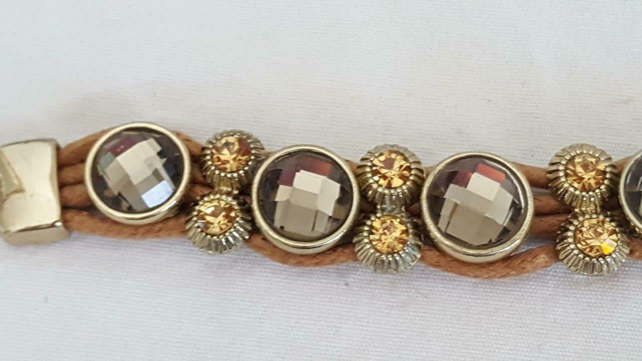 "7"" VINTAGE FACETED SMOKEY QUARTZ CRYSTAL TOGGLE BRACELET, BAND, CITRINE ACCENTS"