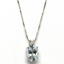 18K WHITE GOLD NECKLACE AQUAMARINE 0.65 OVAL CUT & DIAMOND, PENDANT & CHAIN image 1