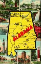 Vtg Curt Teich Linen Postcard 1948 - Alabama State Map - Posted - $5.95
