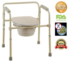 Commode Chair Folding Bedside Chair Commode with Commode Bucket and Spla... - $45.65