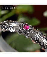 925 Sterling Thai Silver Mosaic Handmade Craft Chalcedony Bangles Zircon... - $85.22