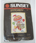 1984 MIP Sunset Stitchery Come fly With Me Diane Brakefield Bear Hot Air... - $18.32