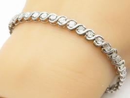 JWBR 925 Silver - Vintage Genuine Diamonds Swirl Link Tennis Bracelet - ... - $59.19
