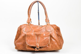 Balenciaga Brown Distressed Leather Front Pocket Slouchy Satchel Bag - $435.00