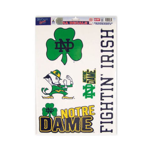 "NOTRE DAME IRISH ULTRA FILM DECALS BEAN BAG TOSS, CAR, SHEET of 5 SIZE 11"" X 17"""