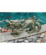 "21"" Asian Dragon GARDEN STATUE Great Wall Replica Outdoor Sculpture Deco... - £60.81 GBP"
