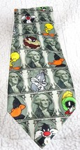 Looney Tunes Mania Taz, Daffy, Tweety, Bugz Bunny  1996 Big Money Neck Tie - $5.89