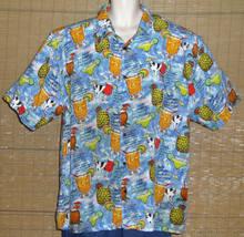 Big Dogs Hawaiian Shirt Light Blue Red Yellow Green Cocktail Recipes  Si... - $23.99