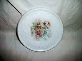 ANTIQUE PORCELAIN ROMANTIC FRENCH COUPLE TEA TRIVET ORNATE GERMANY OLDIE - $27.99