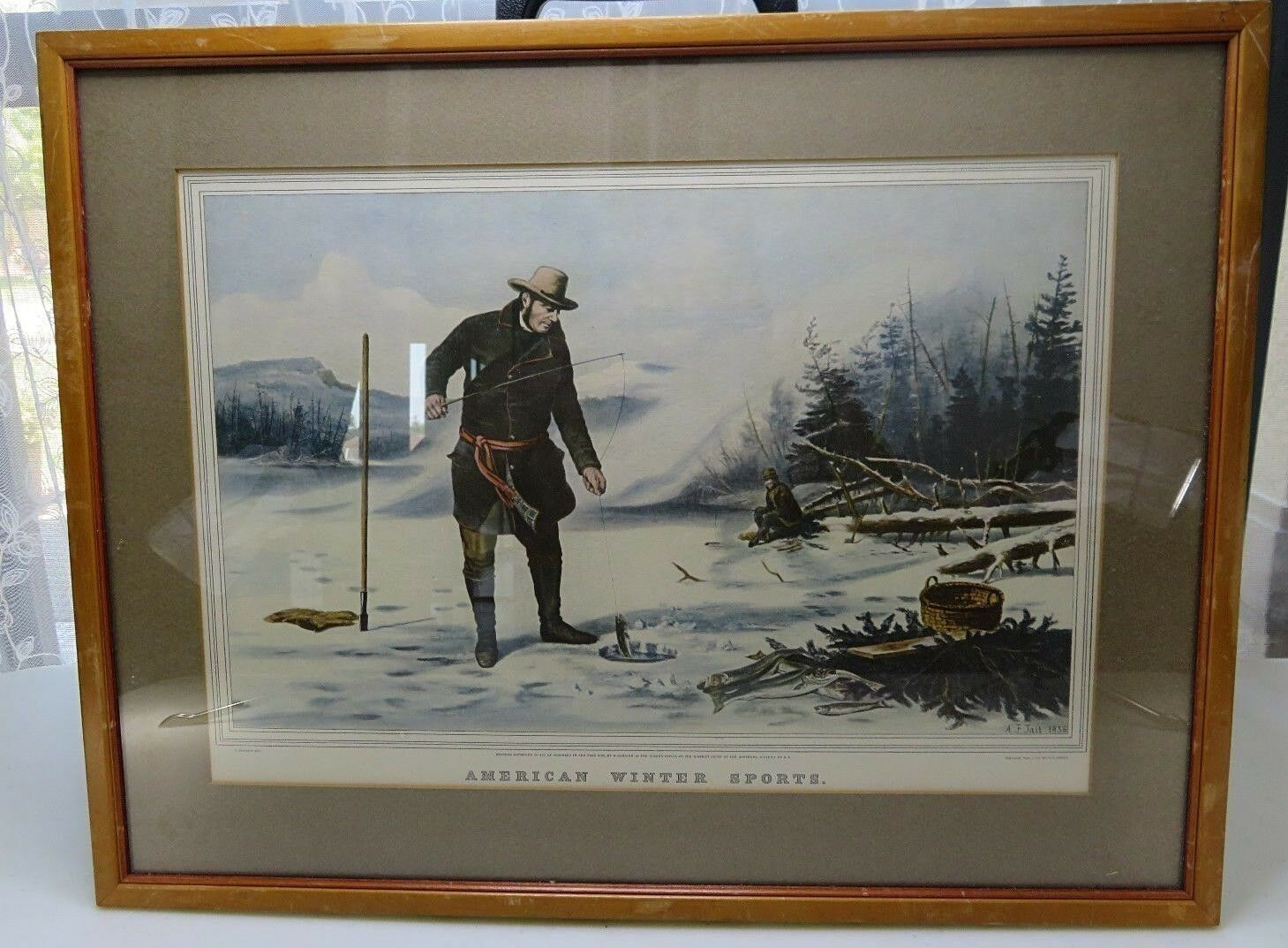 Primary image for Mid century American Winter Sports print framed glass reprinted from 1856