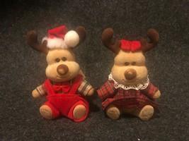 Russ Berrie Vintage Flocked Boy And Girl Christmas Deer Figurines - $5.90
