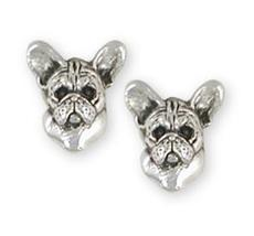 French Bulldog Earrings Handmade Sterling Silver Dog Jewelry FR26-E - $78.00