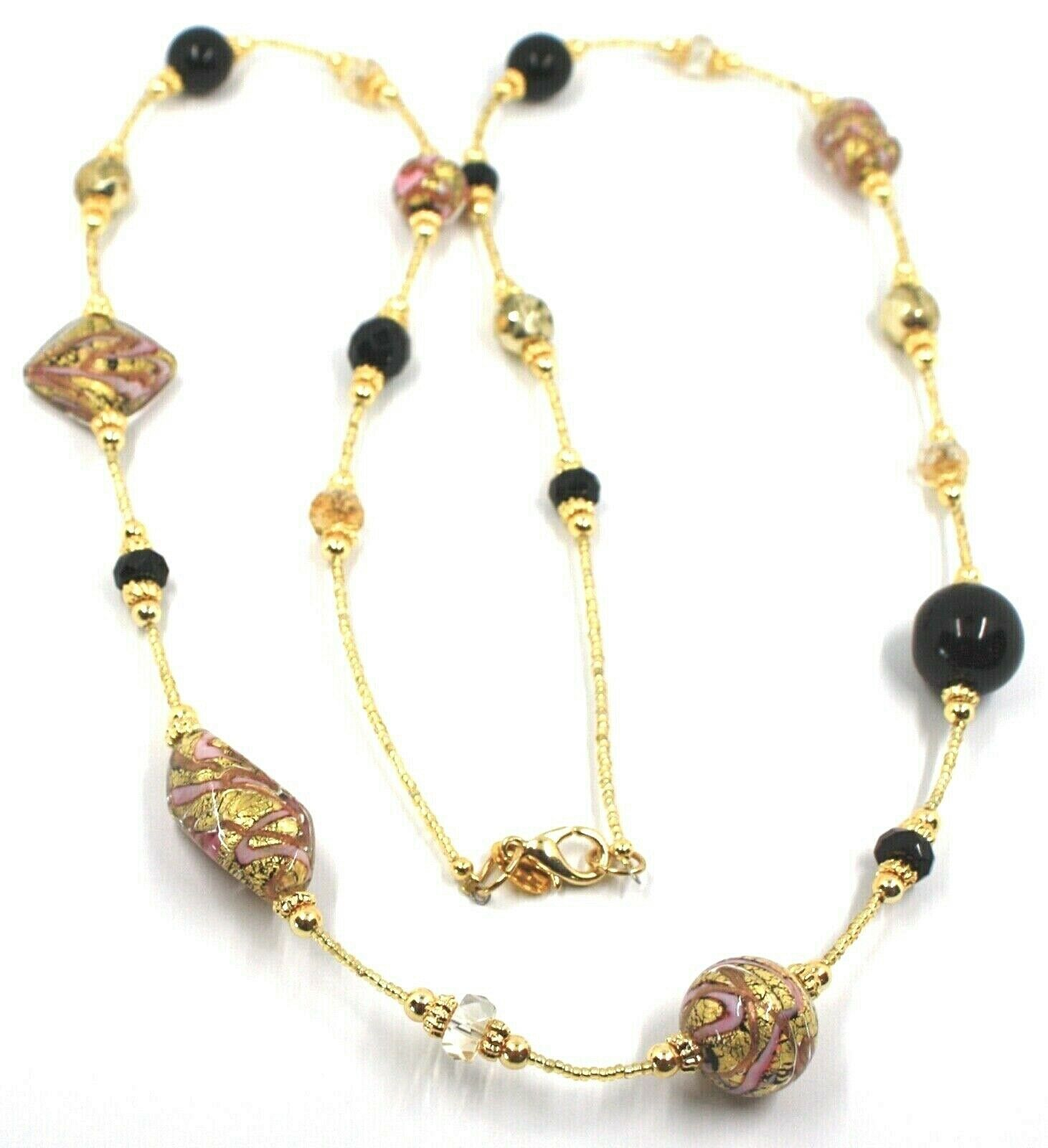 LONG 90cm NECKLACE PINK & YELLOW STRIPED MURANO GLASS SPHERE NUGGET, GOLD LEAF