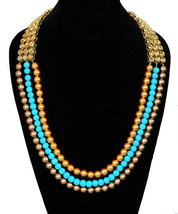KUNDAN STONES PEARL BEADS WEDDING HARAM NECKLACE EARRING SET GOLD TONE J... - $59.39