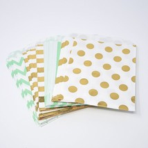 48 Polka Dot Chevron Stripe Mint and Gold Food Candy Treat Party Favor B... - $10.95