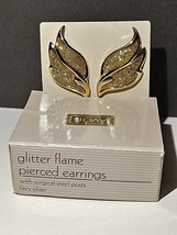 "Avon Glitter Flame Gold Pierced Earrings NOS NIB 1-1/2"" - $12.99"