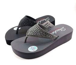 Skechers 31601 Pewter Yoga Foam Wedge Platform Thong Sandals - $39.20