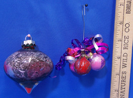 Handmade Glass Ornaments Paint Dripped Inside Green Pink Purple Red Lot ... - $8.90