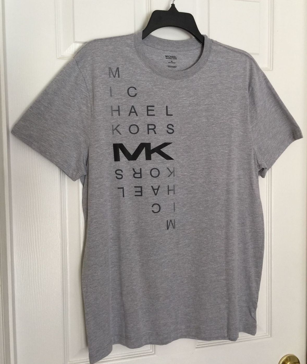 NWT Authentic Michael Kors Crew Neck Short Sleeve Graphic T-Shirt  Heather Gray