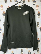 Nike Philadelphia Eagles Therma Fit NFL On Field Black Crewneck Sweatshi... - $29.69