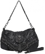 MG Collection Parkin Skull Studded Fringe Beads Purse, Black, One Size - $89.33