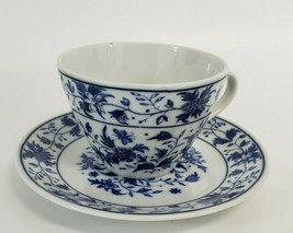 Inarco Japan Blue & White Floral Butterfly Teacup and Saucer Set - $14.00