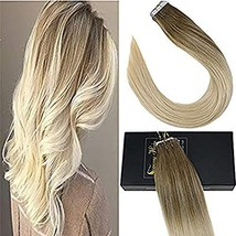 Sunny 16Inch Balayage Tape Extensions Dip Dye Real Hair Extensions Color... - $43.58