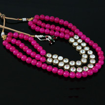 Pink Fuchsia Magenta Beads And Kundan Stone Necklace For Womens And Girls - $15.83